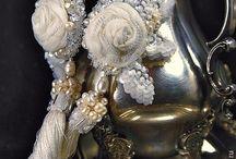fabric earrings and bracelet