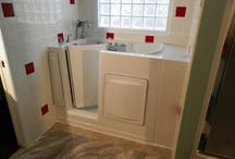 Walk in Tub Gallery of Installed Tubs / Walk-in tubs installed by Aquassure Accessible Baths, including those with glass sliding doors, custom colours, and tile surrounds. www.aquassure.com 1-866-404-8827