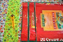 Animal feed bag crafts