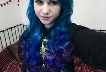 blue to purple ombré Hair