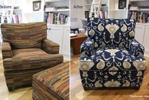 Susie's Indigo Ikat Slipcover / I used printed indigo ikat cotton from Magnolia Co. to make this custom chair slipcover. The inky blue color is beautiful! Offers very good coverage and is machine washable.