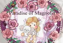 "cartes Dt Paradise of Magnolia / blog challenge ""magnolia stamps"""