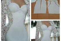 Patrones vestido de encaje blanco