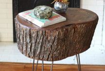 log chairs/tables
