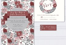 Floral wedding in burgundy and gray / Floral doodle wedding invitations wedding invites in burgundy and gray