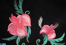 Вышивка цветов / Машинная вышивка цветов