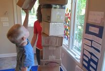 kindergarten building and creating with found materials
