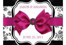 hot pink and black wedding invitations / Cheap hot pink and black wedding invitations