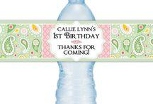 Custom Water Bottle Labels / Custom and printable water bottle labels from DelightDesignBiz and DelightPrintables