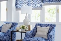 Blue and white interiors