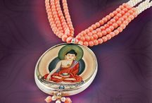 Painting based jewellery / Rashmi singh is an expert in making painting based jewellery She offers a premium quality range of painted pendants bordered with stones.