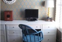 Office / office nook, home office, desk, chair, shelving, shelves, bookcase, bookshelf, built ins, computer, laptop, stripes, gallery wall, inspiration, design, decor, home, rug, storage, diy, gold, filing cabinet,