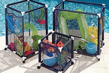 Pool Storage Ideas / Economical and creative solutions to keep all the pool toys and floats organized.