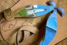 handpainted leather sandal / leather  sandal painted by hand with waterproof colors