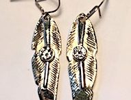 Earrings - Native Jewelry / Earrings in golds, silver or platinum and precious gems. Applique and Hand engraved.