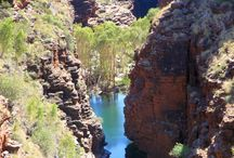 Karijini National Park / The jewel of the Pilbara, the Karijini experience is an adventure more than two billion years in the making.  Highlights include Fortescue Falls, Circular pool and Fern pool Oxers Lookout is the junction of four mighty gorges - Red, Weano, Joffre and Hancock Gorges.
