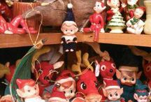 A Very Vintage Christmas / Lots of great vintage Christmas items including Santas, reindeer, Elfs and pixies, N ew Years Eve Blowers and Noise makers, Bottlebrush Trees and Wreaths, Snowmen