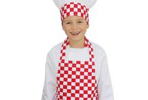 Apron And Hat Sets / Apron and hat sets for kids in various colours and styles.