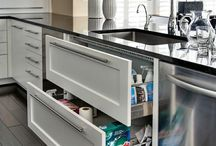 Pull out wide big drawers for under sink awesome idea love it