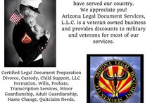 Military and Veterans / Arizona Legal Document Services, L.L.C. is a veteran owned business. Kellie DiCarlo, owner of Arizona Legal Document Services, LLC is a U.S. Navy Veteran. She served in the U.S. Navy from 1986 to 1992 in Rota, Spain. We provide discounts to military and veterans for most of our services. We also provide free consultations. We appreciate your service to our country.