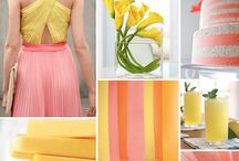 Yellow, Gray & Coral Wedding Colors / by {AO3} DESIGNS