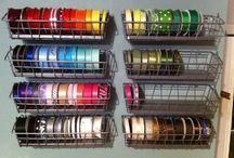 Ribbon Storage in ikea bagel baskets