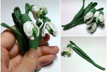 Крючок: цветы, листья