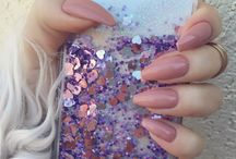 My pics / Nude coffin nails and glitter iphone case