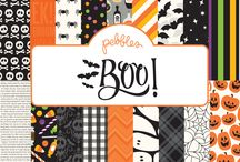 Boo! / Grab your spookiest mask and fill your bags with ghoulish goodies and tricky treats this Halloween with Pebbles' newest collection, Boo! This spirited line has all of your traditional Halloween favorites displayed in a bold palette of pumpkin orange, candy corn yellow, midnight black and ghost white. Trick or treat with colorful icons of bright-eyed owls, spooky bats, jack-o-lanterns, and playful ghosts. / by Pebbles Inc