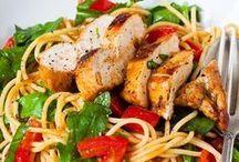 hähnchenbrustfilet mit rucola u spagetti