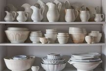 Ironstone / Collections of antique ironstone & beautiful white stoneware kitchen & home decor items.
