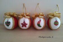 Cross stitch, Christmas Ornament,  haftowane bombki
