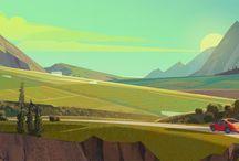 Illustration { Backgrounds Landscapes } / by Gertrude Gru