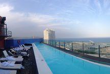 Views / Over Barcelona or the Mediterranean Sea.