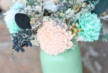 Gray mint and peach