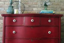 red chest of drawer