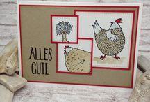 Stamp up Karten Hühner