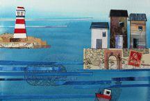 Sea landscape collage
