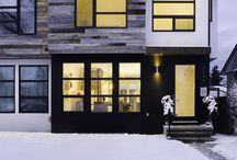 black windows and doors / black windo and garden