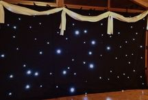 StarCloth / Starlit Backdrop.  / Our Large 6 x 3m Star Cloths are great fitted in Marquee's as a back drop for a live band, stage or dance floor area. These also look great to make a feature behind the Top table.