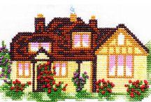TALOT / PIHAT / Erilaisa taloja ym ristipistoin tehtyjä