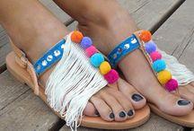 Riripom sandals / boho sandals, pom pom sandals, boho, gypsy