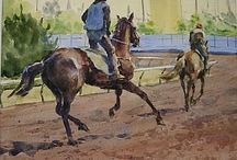 Horses In Art- Racehorses In Training Scenes