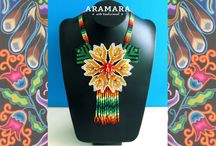Huichol creations by Aramara / Huichol creations by Aramara (Elias Lopez) on Etsy.  I adore these intricate and colourful creations.