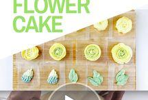 buttercrean cake & flowers