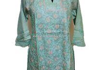 Tussar Silk Kurti / Tussar Silk Chikankari Kurtis, Lucknow Chikan Exclusive Kurtis. You can buy it from www.dress365days.com