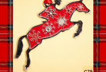 Horse Christmas Ornaments / Pewter and enamel