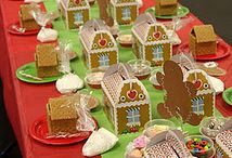 Gingerbread Party! / We love the holidays - and the idea of wrapping a party around decorating Gingerbread Houses - or cookies - is a wonderful idea. Match it with my favorite type of house (a bouncehouse) and you've got a party!!