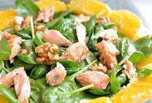 Zalmsalade met spinazie