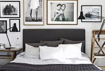 Bedroom ideas- Charcoal, white and blush